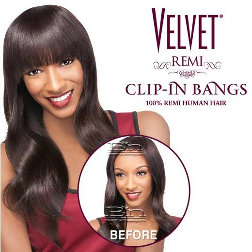 Outre 100% Remy Human Hair Bang Piece Closure - VELVET CLIP-IN SASSY BANGS