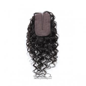 Outre Simply 100% Non-processed Brazilian Hand-tied Lace Parting Top Piece Closure - NATURAL CURLY 16
