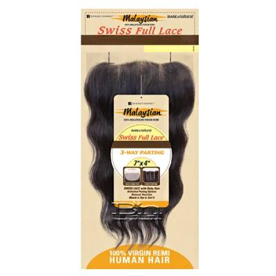 Sensationnel 100% Virgin Remi Bundle Hair Bare & Natural - SWISS FULL LACE 7 X 4 STRAIGHT 12