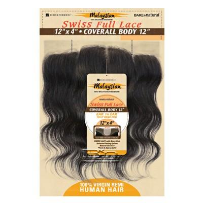 Sensationnel 100% Virgin Remi Bundle Hair Bare & Natural - SWISS FULL LACE 12 X 4 COVERALL STRAIGHT 12