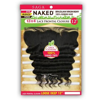 100% Unprocessed Brazilian Virgin Remy Hair Lace Frontal Closure - NAKED 13X4  LOOSE DEEP 16