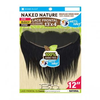 100% Unprocessed Brazilian Virgin Remy Hair Lace Frontal Closure - NAKED NATURE WET & WAVY 13X4 LOOSE CURL 12