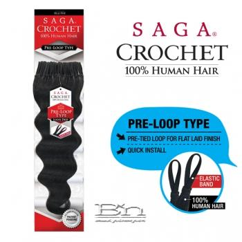 Milky Way Saga 100% Human Hair Crochet Braid - PRE LOOP TYPE LOOSE DEEP 14