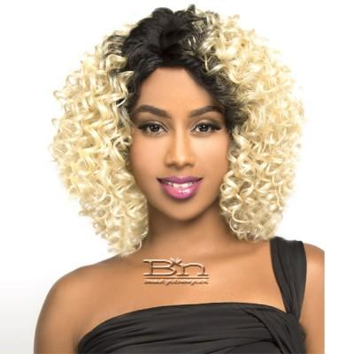 The Wig Brazilian Human Hair Blend Lace Front Wig - LH DEEP