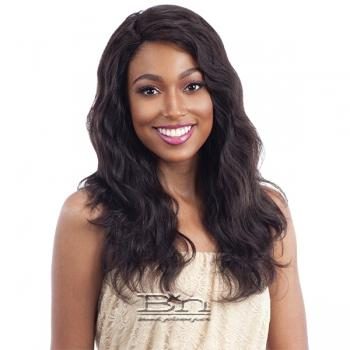 Naked 100% Unprocessed Remy Hair Deep Invisible L Part Lace Front Wig - NATURAL WAVY