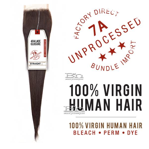 Sensationnel 100% Virgin Human Hair Bare & Natural - 7A 4X4 STRAIGHT LACE CLOSURE 10