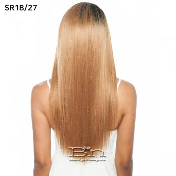 Mane Concept Melanin Queen Human Hair Blend Lace Wig - MLE02 YAKY SLEEK 26 (ear to ear wide lace part)