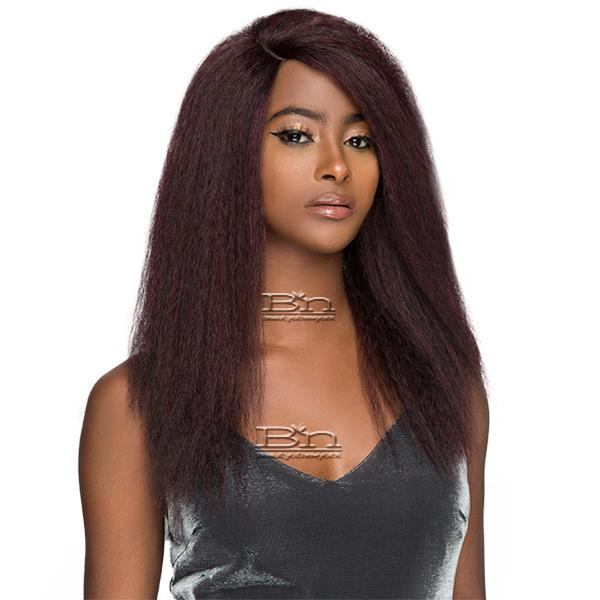 WIGO Collection Synthetic Hair Extreme Side Deep Natural Plucked Lace Front Wig - LACE 1B BLOW OUT STRAIGHT 18
