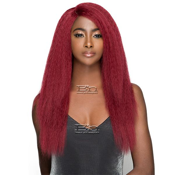 WIGO Collection Synthetic Hair Extreme Side Deep Natural Plucked Lace Front Wig - LACE 1B BLOW OUT STRAIGHT 24