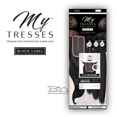 Outre Mytresses Black Label 100% Unprocessed Human Hair Weave - STRAIGHT 10,12,14 (4x4 Lace Closure With Bundles)