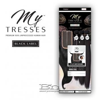 Outre Mytresses Black Label 100% Unprocessed Human Hair Weave - STRAIGHT 16,18,20 (4x4 Lace Closure With Bundles)