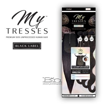 Outre Mytresses Black Label 100% Unprocessed Human Hair Weave - BODY 18,20,22 (3X6 Lace Closure With Bundles)