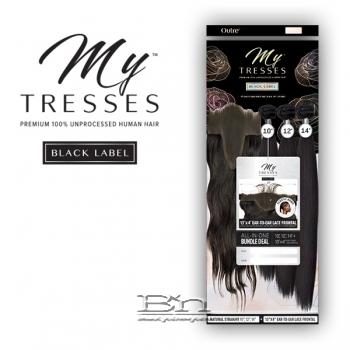 Outre Mytresses Black Label 100% Unprocessed Human Hair Weave - STRAIGHT 12,14,16 (13x4 Lace Closure With Bundles)