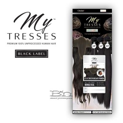 Outre Mytresses Black Label 100% Unprocessed Human Hair Weave - STRAIGHT 16,18,20 (13x4 Lace Closure With Bundles)