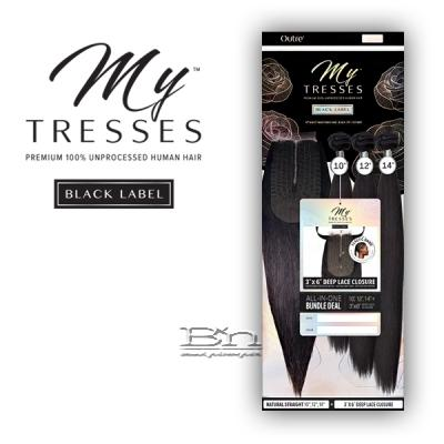 Outre Mytresses Black Label 100% Unprocessed Human Hair Weave - STRAIGHT 10,12,14 (3x6 Lace Closure With Bundles)