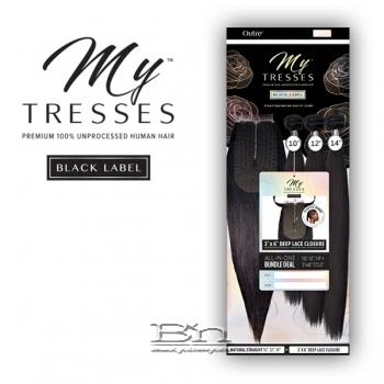 Outre Mytresses Black Label 100% Unprocessed Human Hair Weave - STRAIGHT 12,14,16 (3x6 Lace Closure With Bundles)