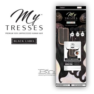 Outre Mytresses Black Label 100% Unprocessed Human Hair Weave - BODY 10,12,14 (4x4 Lace Closure With Bundles)