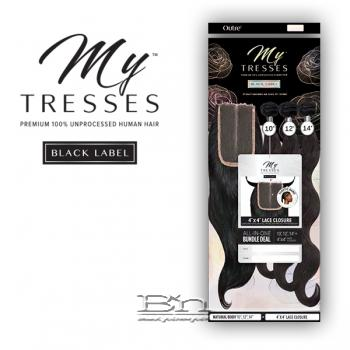 Outre Mytresses Black Label 100% Unprocessed Human Hair Weave - BODY 12,14,16 (4x4 Lace Closure With Bundles)