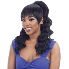 Model Model Synthetic Ponytail and Blunt Bang - LOOSE CURL (2PCS)