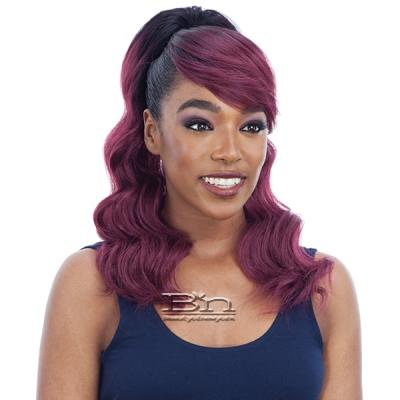 Model Model Synthetic Ponytail and Swoop Side Bang - LOOSE CURL (2PCS)