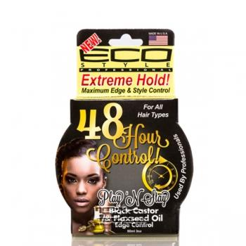 Eco Style Play'n Stay 48 Hour Control Black Castor & Flaxseed Oil Edge Control Gel 3oz