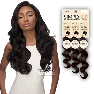 Outre Simply 100% Unprocessed Human Hair Weave - NATURAL BODY 3PCS (12,14,16)