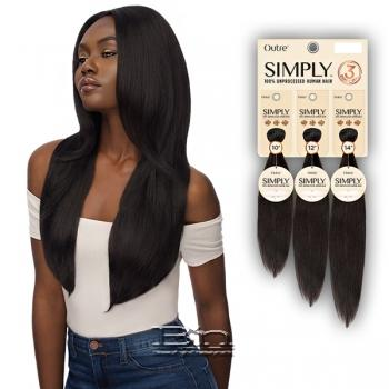 Outre Simply 100% Unprocessed Human Hair Weave - NATURAL STRAIGHT 3PCS (12,14,16)