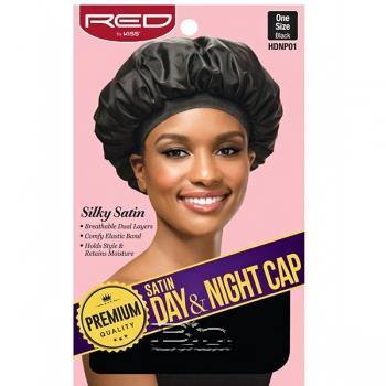 Red by Kiss HDNP01 Satin Day & Night Cap - One Size Black
