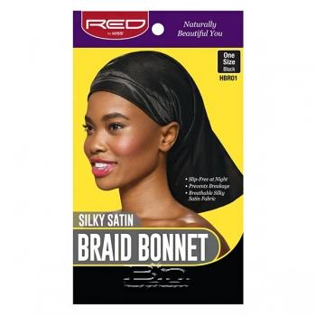 Red by Kiss Silky Satin Braid Bonnet One Size Black HBR01