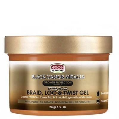 African Pride Black Castor Miracle Braid Loc and Twist Gel 8oz