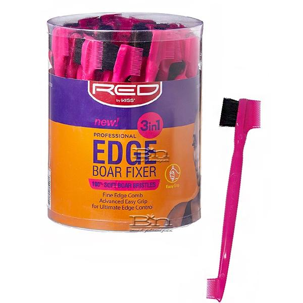 Red by Kiss BSH28 Professional Edge 3in1 Brush with Fine Edge Combs Bucket(48ea) #BSH28J