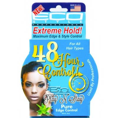 Eco Style 48 Hour Pure Edge Control Gel Play N Stay Extreme Hold 3oz