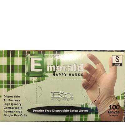 Emerald Powder Free Disposable Latex Gloves - Medium 100pcs