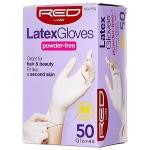 Red By Kiss 50GLPF02 Latex Gloves Powder Free - Medium 50ct