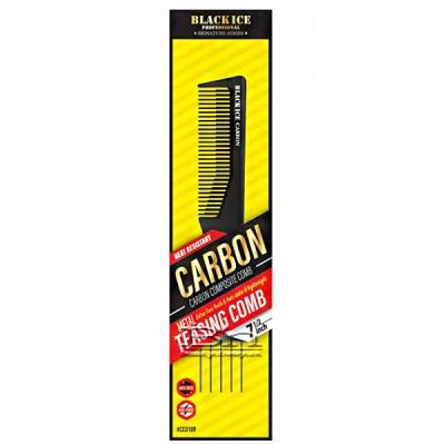 Black Ice #CCO109 Carbon Metal Teasing Fine Tooth Comb 7.5