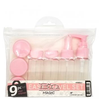 Magic Collection #YMB017 9pcs Easy Travel Empty Container Set - Pink