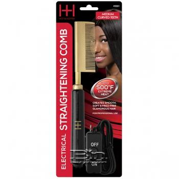 Hot & Hotter #5531 Electrical Straightening Comb Medium Curved Teeth