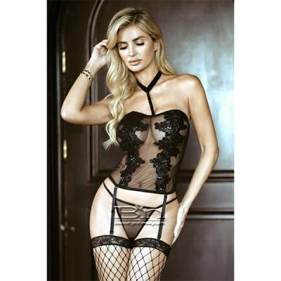 Killer Legs by Yelete Floral Applique Lingerie with Garter Tights Black 819S003