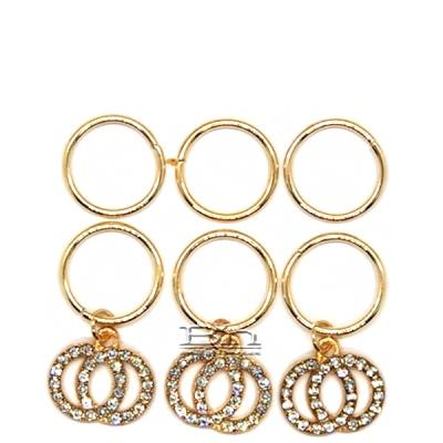 WIGO Collection Hair Accessories Braid Ring - (CTG8 - Stone Double Circle Gold Ring)