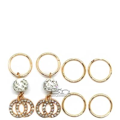 WIGO Collection Hair Accessories Braid Ring - (CTG10 - Stone Double Circle with White Pave Ball Gold Ring)