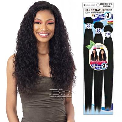 Naked 100% Brazilian Virgin Remy Hair Wet & Wavy Weave - LOOSE DEEP 3PCS (18/20/22)