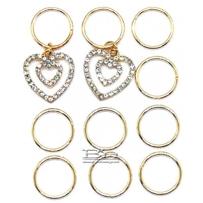 WIGO Collection Hair Accessories Braid Ring - (CTG15 - Stone Double Heart Gold Ring)