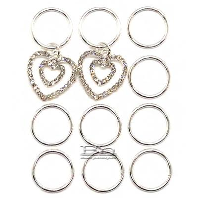 WIGO Collection Hair Accessories Braid Ring - (CTG16 - Stone Double Heart Silver Ring)