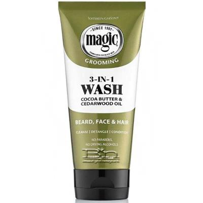 Magic Grooming 3 In 1 Wash Cocoa Butter & Cedarwood Oil for Beard Face & Hair 6.8oz