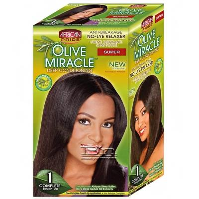 African Pride Olive Miracle Conditioning No-Lye Relaxer Touch-up Kit Super