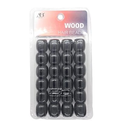 WIGO Collection Hair Accessories Braid Ring - (BD1 - Wooden Hair Beads Large Hole Balck)