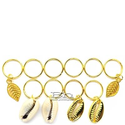 WIGO Collection Hair Accessories Braid Ring - (CTG22 - Shell Ring & Gold Metal Shell and Leaf Ring)