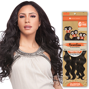 Sensationnel 100% Brazilian Virgin Remi Bundle Hair Bare & Natural - NATURAL BODY 1PK (16/16/18/18/20/20 + Closure)