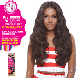Janet Collection 100% Unprocessed Remy Human Hair Weave - BRAZILIAN BOMBSHELL NATURAL BODY WAVE 6PCS (10/10/12/12/14/14 + Closure)