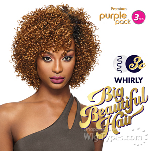Outre Purple Pack Human Hair Blend Weaving - BIG BEAUTIFUL HAIR 3C WHIRLY 3PCS